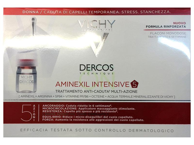Dercos Linea Aminexil Intensive Trattamento Anticaduta 5 Azioni Donna 21 Fiale