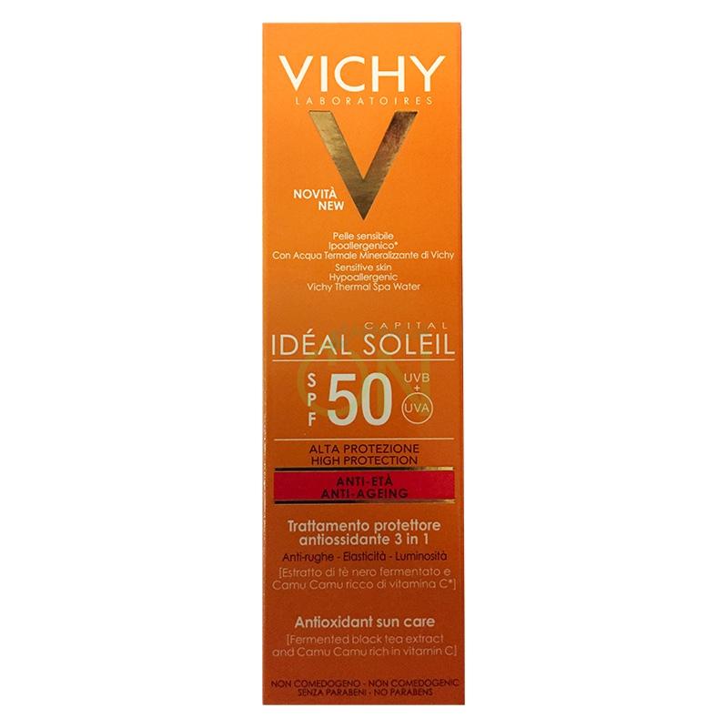 Vichy Linea Ideal Soleil SPF50+ Trattamento Anti-Età Antiossidante Viso 50 ml